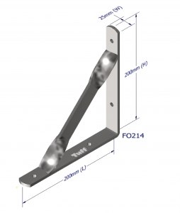 ANGLE BRACKET WITH STAY 200X200X25X5MM ZINC