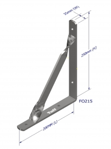 ANGLE BRACKET WITH STAY 250X200X25X5MM ZINC