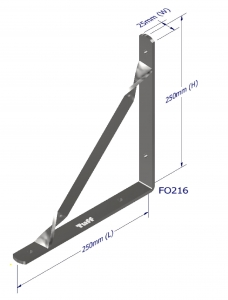 ANGLE BRACKET WITH STAY 250X250X25X5MM ZINZ