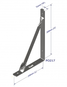 ANGLE BRACKET WITH STAY 300X200X25X5MM ZINC