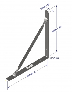 ANGLE BRACKET WITH STAY 300X300X25X5MM ZINC