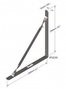 ANGLE BRACKET WITH STAY 350X350X25X5MM ZINC