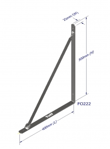 ANGLE BRACKET WITH STAY 500X400X25X5MM ZINC