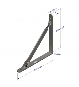 ANGLE BRACKET WITH STAY 250X250X25X5MM GALV